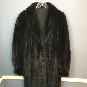 Classic Saga MINK fur coat Dark Brown Black Medium